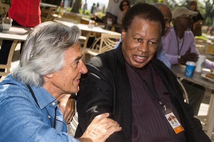 John_mclaughlin_and_wayne_shorter_at_cafe_outside_of_hagia_irene_prior_to_press_conference__istanbul__4-13_depth1