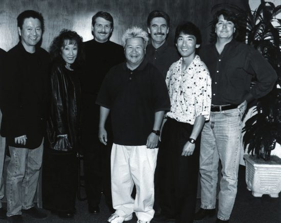 Windham Hill's Steve Vining, third from left, pictured with members of Hiroshima and label reps. From left, Dan Kuramoto, June Kuramoto, Vining, Johnny Mori, Ron McCarrell, Kimo Cornwell and Patrick Clifford image 0