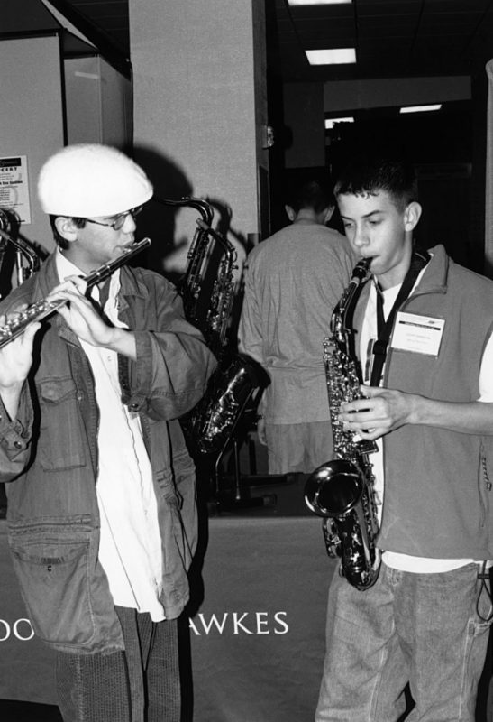 14-year old Steve Cheney on flute jamming with 16-year old Geoff Sheridan on saxophone at the 2000 IAJE Conference