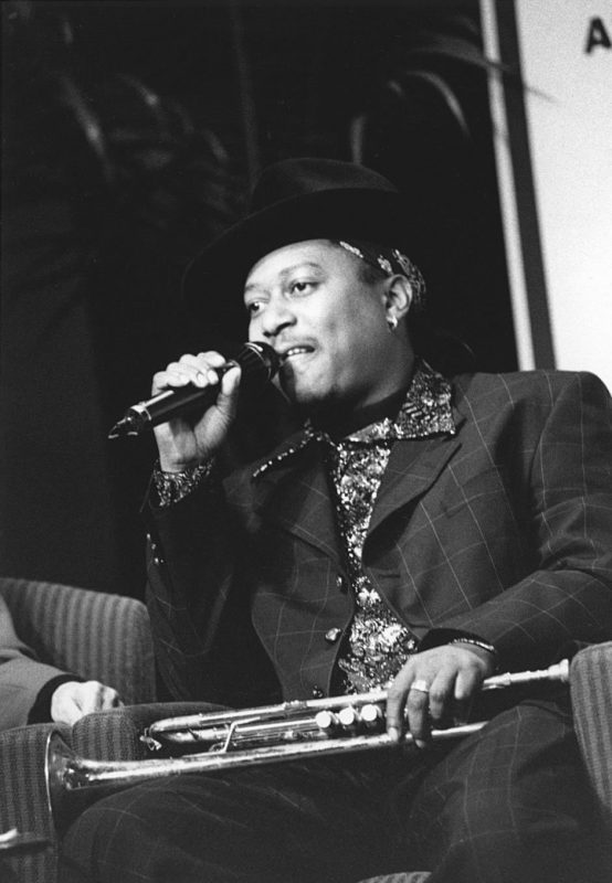 Kermit Ruffins speaks at the 2000 IAJE Conference