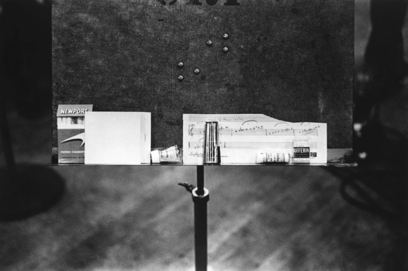 """Miles Davis' music stand, featuring the chart for """"Flamenco Sketches"""""""