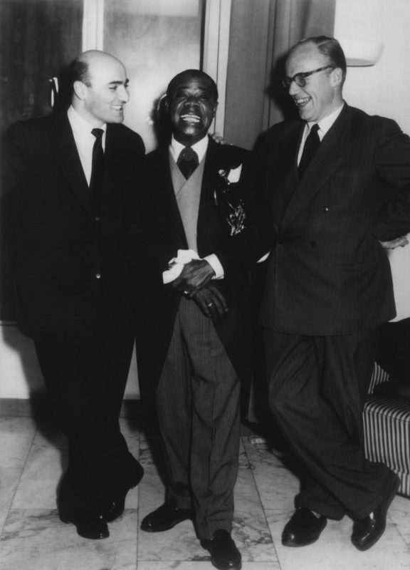 Left to Right: George Avakian, Louis Armstrong, Piet Beishuizen