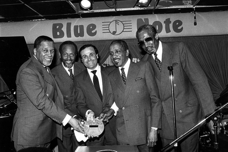 The Modern Jazz Quartet accepts their Blue Note star plaques from club general manager Sal Haries