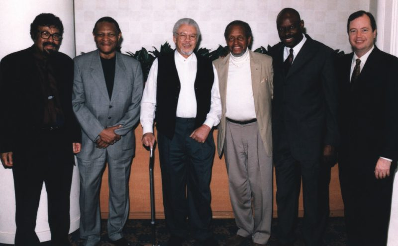 L to R: David Baker with NEA Jazz Masters McCoy Tyner, Frank Foster and Percy Heath, along with Ron McCurdy and Bill McFarlin from IAJE