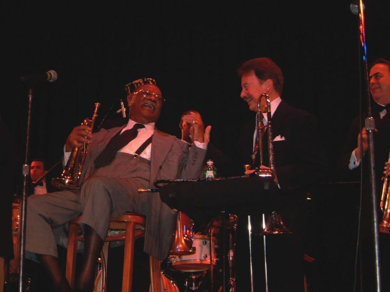 Clark Terry and Eddie Bert at the trombonist's 80th birthday party at Town Hall, May 16, 2002