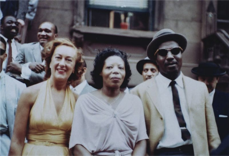 """Marian McPartland, Mary Lou Williams and Thelonious Monk at """"A Great Day in Harlem"""" gathering for Esquire magazine, New York City, 1958"""