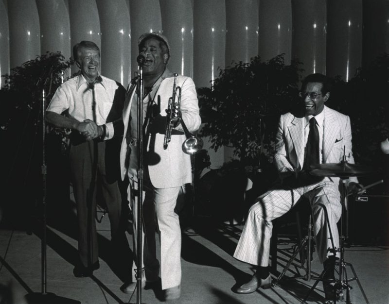 """Jimmy Carter performs """"Salt Peanuts"""" with Dizzy Gillespie and Max Roach"""