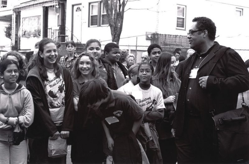 Jon Faddis with students from Louis Armstrong Middle School in Queens