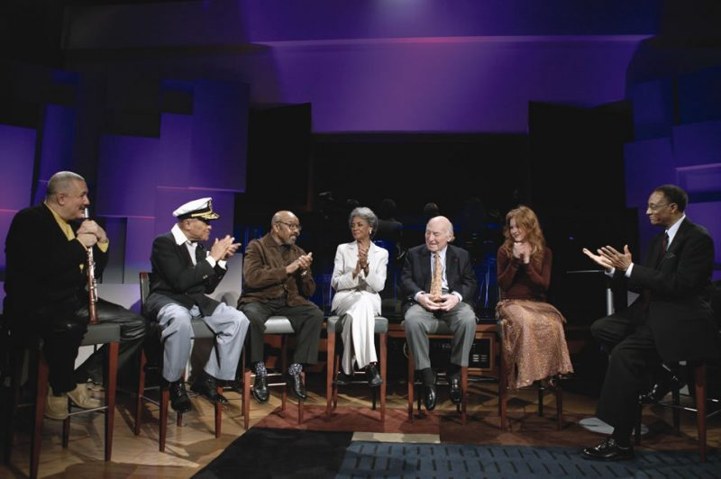 Pictured (left to righ; Paquito D'Rivera, Jon Hendricks, James Moody, Nancy Wilson, George Wein, teen jazz-vocalist Renee Olstead and host Ramsey Lewis during the taping of a one-hour special edition of the forthcoming PBS TV series Legends of Jazz. Slate