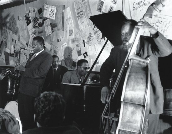 L to R: John Coltrane, Shadow Wilson, Thelonious Monk and Ahmed Abdulmalik at the Five Spot, 1957 image 0