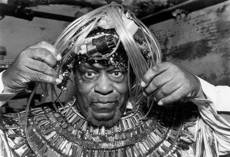 Sun Ra prepares to perform at the Village Gate in New York City for the opening concert of the Greenwich Village Jazz Festival in 1987.