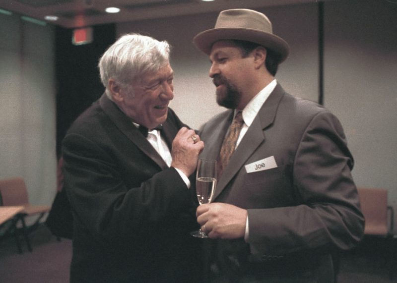 Gunther Schuller and Joe Lovano after Schuller's 75th birthday and the 20th anniversary celebration of GM Recordings, Harvard's Sanders Theater, March 18, 2001