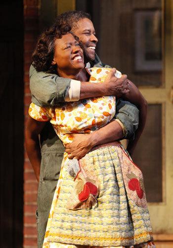 "Viola Davis (Rose) and Denzel Washington (Troy Maxson) in ""Fences"""