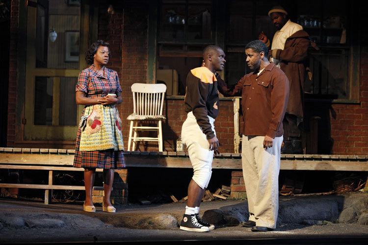 "Viola Davis (Rose), Chris Chalk (Cory) and Denzel Washington (Troy Maxson) in ""Fences"""