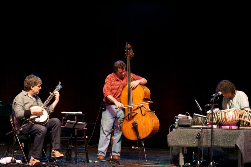 Bela Fleck, Edgar Meyer and Zakir Hussain during their sound check at Litchfield Jazz Festival 2010