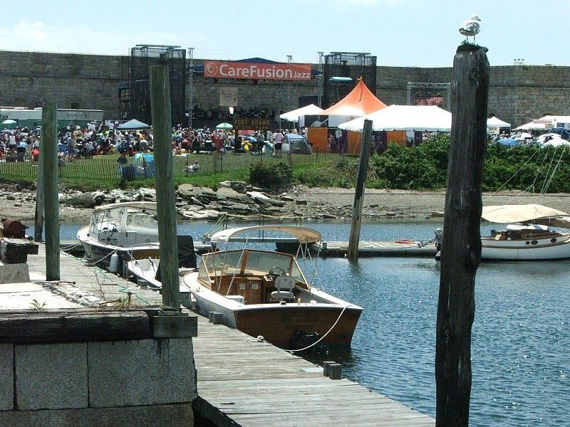 Boats mooring near site of CareFusion Newport Jazz Festival