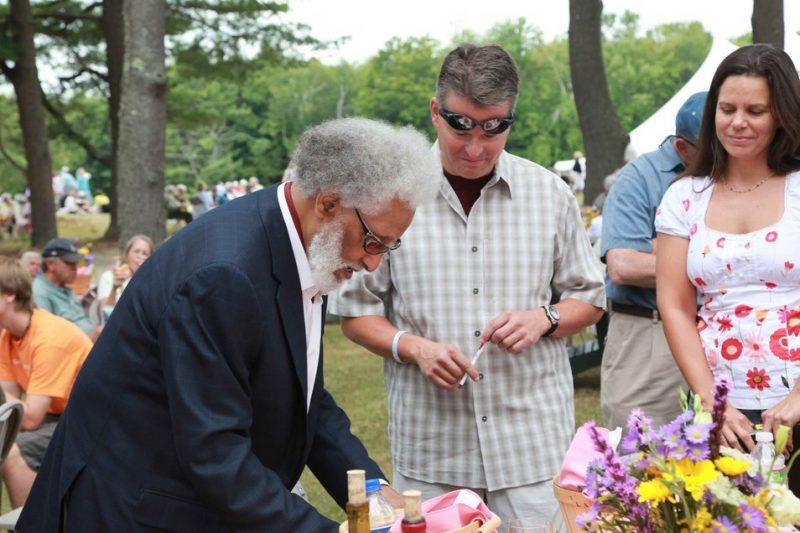 Sonny Rollins signs an autograph for a fan after receiving the 2010 Edward MacDowell Medal at The MacDowell Colony. Photo by Joanna Eldredge Morrissey/Courtesy of The MacDowell Colony.