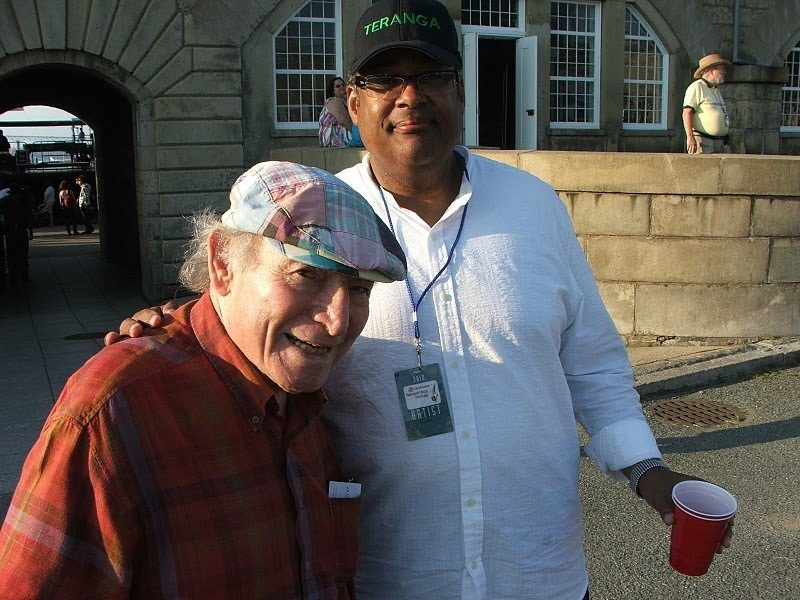 Old friends George Wein and Jon Faddis backstage at CareFusion Newport Jazz Festival
