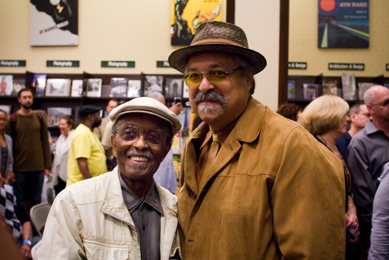 Jimmy Heath and Joe Lovano at Saxophone Colossus book signing in NYC