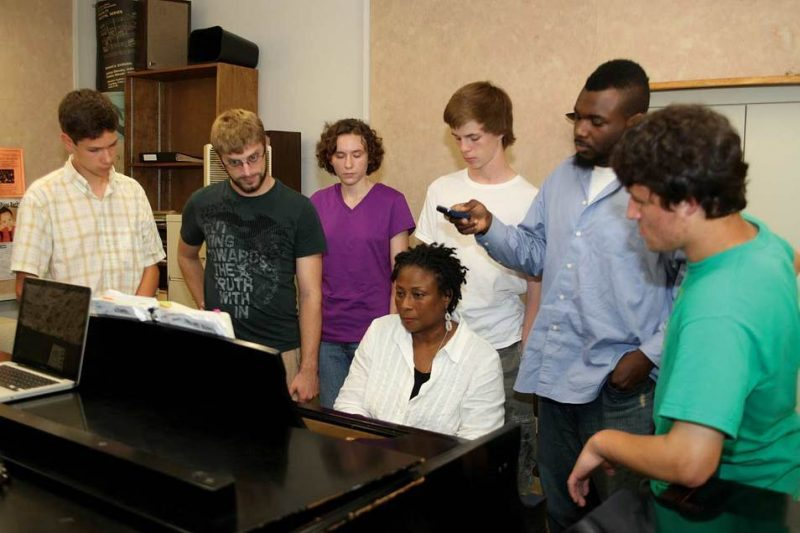 Geri Allen with students at Jazz in July program at University of Massachusetts