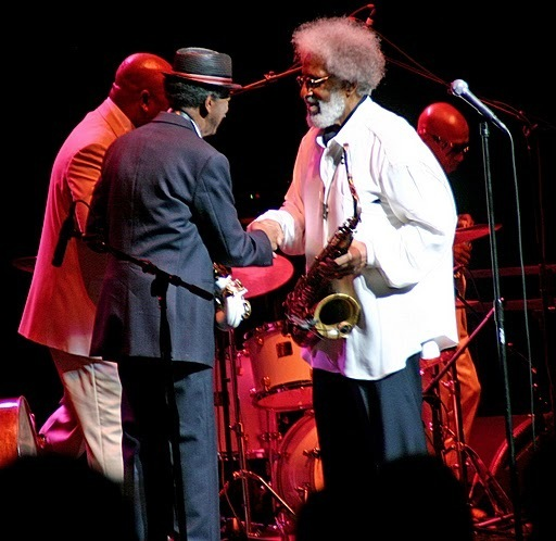 Ornette Coleman with Sonny Rollins in performance at Beacon Theatre
