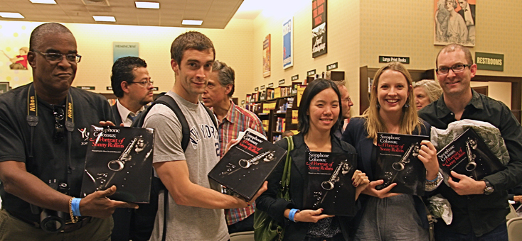 Fans with copies of Saxophone Colossus at book signing in NYC