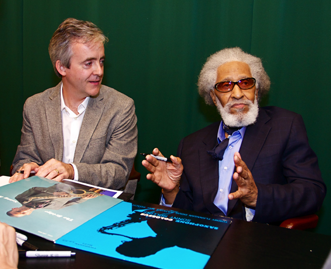 John Abbott and Sonny Rollins at Saxophone Colossus book signing in NYC