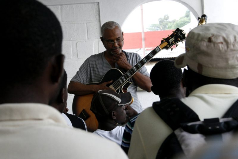 Haiti's premier jazz instructor Claude Carre holds a well-attended jazz seminar for music students in Port-au-Prince on October 2, 2010