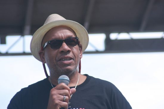 Writer and radio host Willard Jenkins introduces Jason Moran & Bandwagon at the 2010 Rosslyn Jazz Festival image 0
