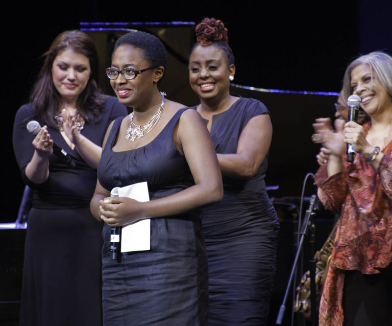 First Place winner Cecile McLorin Salvant with Jane Monheit, Ledisi, Patti Austin