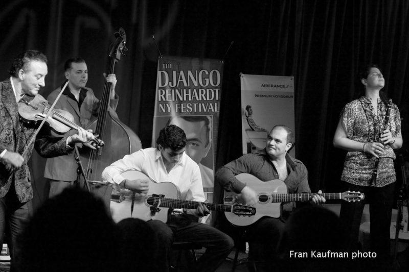 (left to right) Dorado Schmitt, Xavier Nikci, Amati Schmitt, Samson Schmitt, Anat Cohen