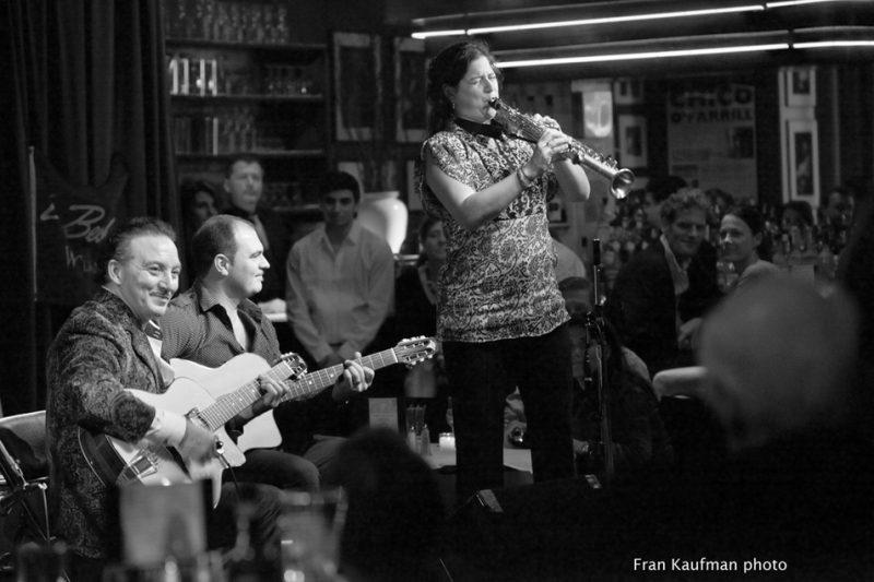 Dorado Schmitt, Samson Schmitt and Anat Cohen in performance at the Django Reinhardt Festival in NYC