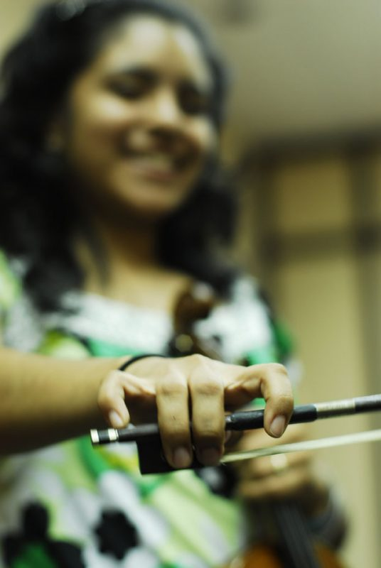 Young student at clinic during 2011 Panama Jazz Festival