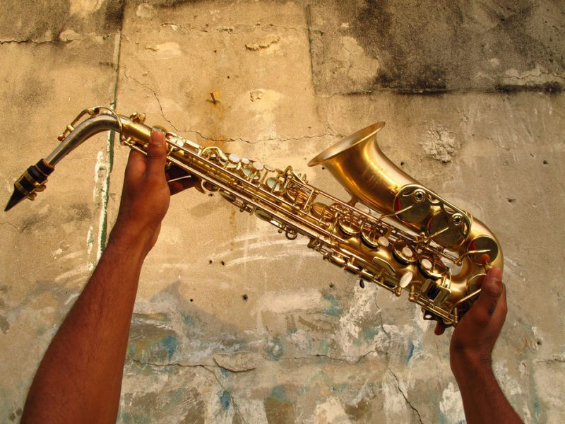 Samuel Batista with his P. Mauriat saxophone