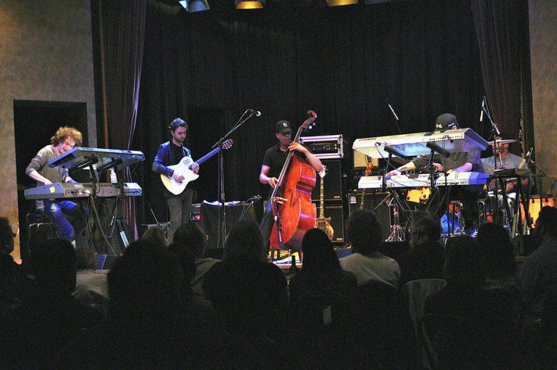 Ruslan Sirota, Charles Altura, Ronald Bruner, Jr. and David Nathan performing with Stanley Clarke at Yoshi's in Oakland on April 1, 2011