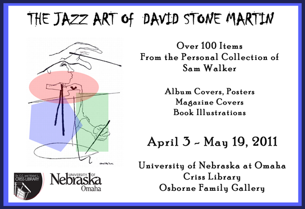 Poster for exhibit of David Stone Martin exhibit