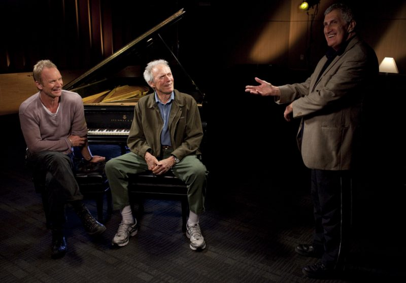 Sting, Clint Eastwood and Bruce Ricker on set on Dave Brubeck: In His Own Sweet Way