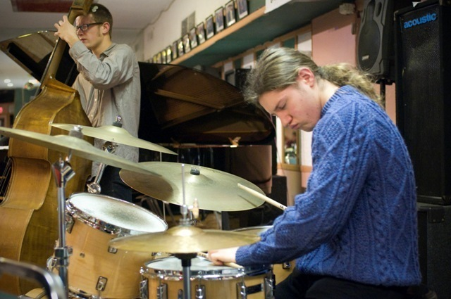 Bassist Bruce Ketterer and drummer Ben Singer at La Rose in Philadelphia