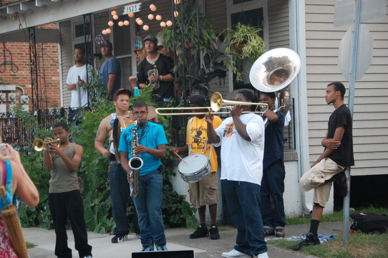 New Orleans street band outside the 2011 New Orleans Jazz & Heritage Festival