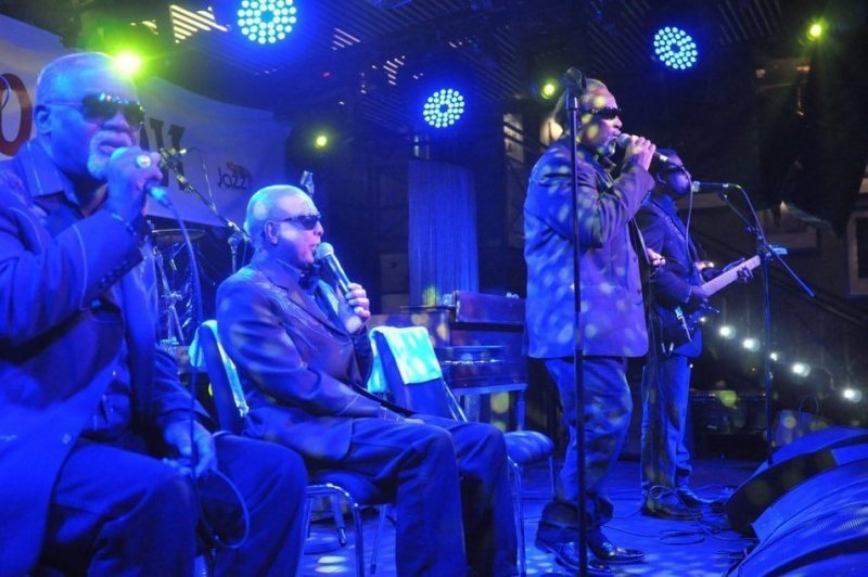 Blind Boys of Alabama in performance at BluesFest held at Under the Bridge in London