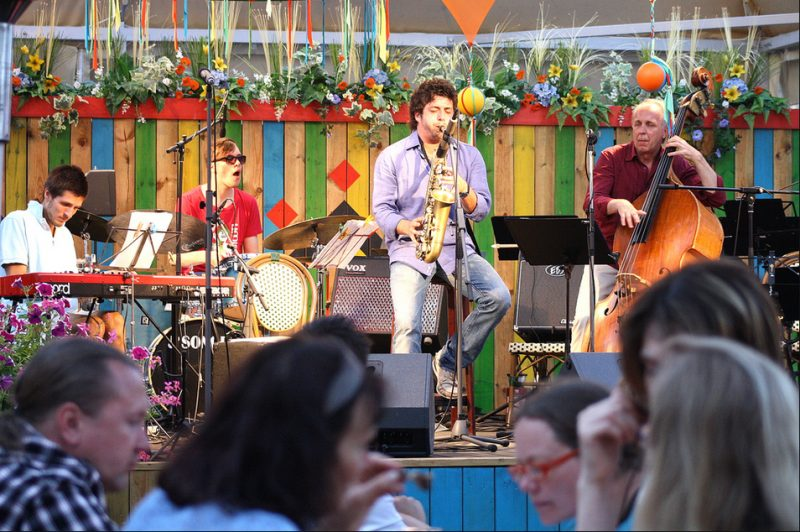 Oskars Racevskis, Ivars Arutjunjans, Francesco Cafiso, Toivo Unt in the Open Air Leisure Park at 2011 Riga Jazz Festival