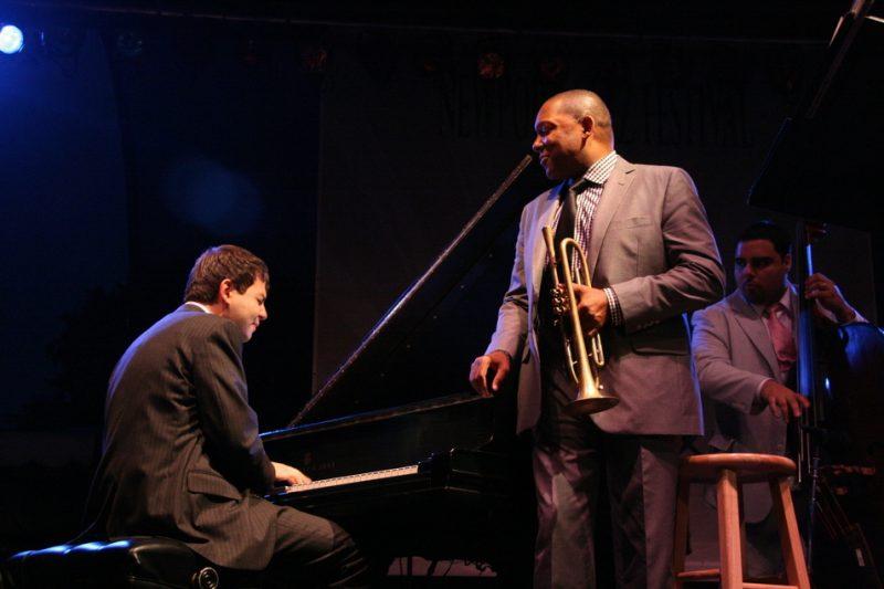 Dan Nimmer, Wynton Marsalis and Carlos Henriquez performing during the 2011 Newport Jazz Festival