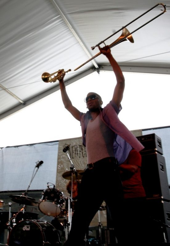 Trombone Shorty performing during the 2011 Newport Jazz Festival