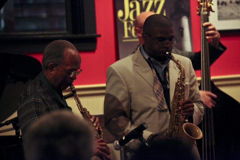 Jimmy Heath and Antonio Hart in performance at Deon's during the 2011 Martha's Vineyard Jazz Festival