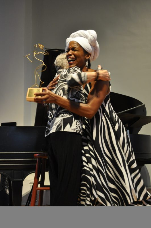 "Nnenna Freelon receiving the 1st annual Martha's Vineyard Jazz Festival ""Vineguard"" award during the 2011 Martha's Vineyard Jazz Festival"