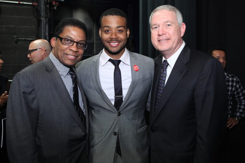 Herbie Hancock, Kris Bowers and Monk Institute President Tom Carter (from left)