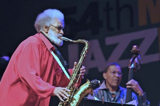 Sonny Rollins with Bob Cranshaw in performance at 2011 Monterey Jazz Festival image 0