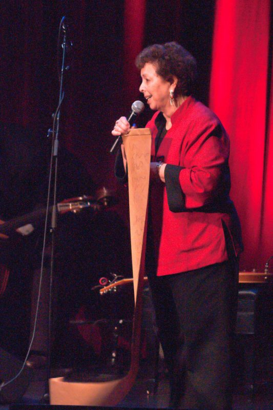 """Bette Gregg, President of Al Downing Tampa Bay Jazz Association with her """"List of Requests"""" for Bob"""