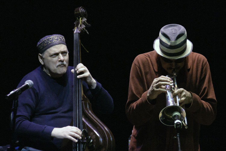Andy and Jerry Gonzalez in performance at Zellerback Theatre in Philadelphia, Pa.