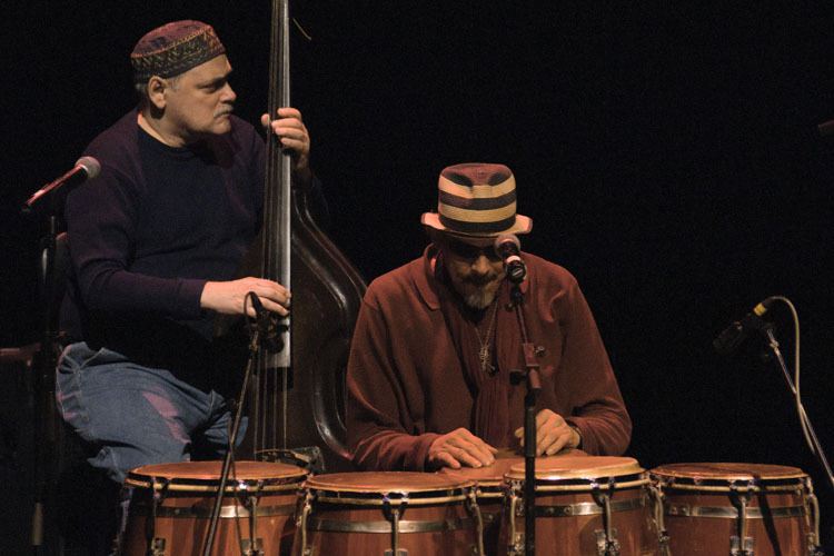 Andy and Jerry Gonzalez in performance at Zellerbach Theatre in Philadelphia, Pa.